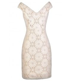 Ivory and Beige Lace Dress, Cute Ivory Dress, Ivory Lace Rehearsal Dinner Dress