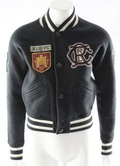 Women's Ralph Lauren Rugby Navy Blue Varsity Jacket Size Medium with Patches