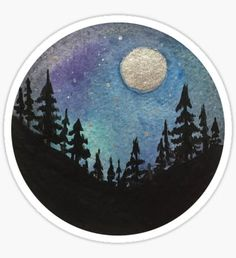 Forest Nature Hiking Travel Wanderlust Galaxy Moon Hipster Camping Print Sticker