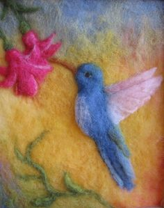 """felted wool crafts Hummingbird Original, plant-dyed, felted image of a hummingbird sipping nectar from a flower. Image size: """""""" Framed in a natural light-colored wooden frame and gla Felted Wool Crafts, Felt Crafts, Needle Felted Animals, Felt Animals, Hummingbird Plants, Felt Pictures, Nature Pictures, Needle Felting Tutorials, Wool Art"""
