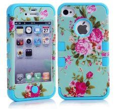 Capa SEAFLY para iPhone4 4S, caso híbrido armadura Chic flor da peônia de alta impacto para o iPhone 4 4S peônia