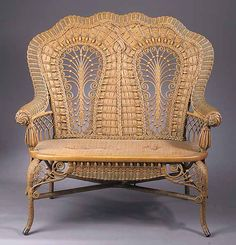 What they couldn't do with wicker! A labeled Heywood Wakefield wicker settee, c. 1880.