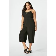 Justfab Jumpsuit & Rompers Culotte Jumpsuit (160 SAR) ❤ liked on Polyvore featuring plus size women's fashion, plus size clothing, plus size jumpsuits, black, romper jumpsuit, justfab, playsuit romper, playsuit jumpsuit and jump suit