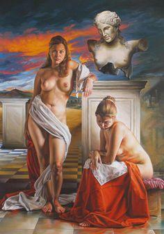 Pintura y Fotografía Artística : Mujer al Desnudo, Hiperrealismo de Fredy Jimenez (Colombia)