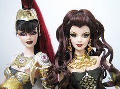 Athena & Medusa Barbie dolls...what??  Where were these when I was a kid?