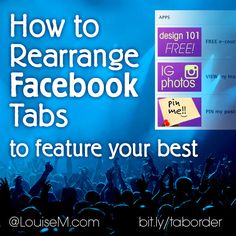 With the latest Facebook Page redesign, only 2 Tabs are linked under your Cover Photo. If you have more than 2 #Facebook Tabs (also called Apps), rearrange them to showcase what's most important. Hint: anything that gets you a lead or sale would be important! Get the details here --> http://louisem.com/5767/rearrange-facebook-tabs #FacebookPages #FacebookMarketing