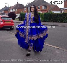 traditional afghan women hina night long gown in blue color handmade tribal fashion dress