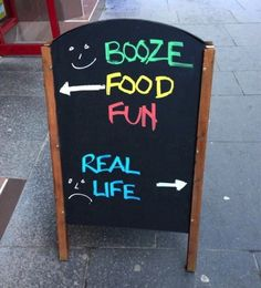 Booze, food & fun vs. real life!