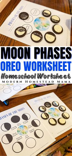 Teach your homeschooler about the phases of the moon using this free printable worksheet #homeschool #spaceunit #moonphases #workseet #homeschoolcurriculum #learningathome Space Theme Preschool, Space Activities For Kids, Preschool Books, Preschool Printables, Children Activities, Stem Activities, Preschool Ideas, Summer Science, Science Fun