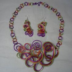 Bib necklace and earrings.