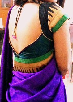 saree blouse design for typical plain brordered sarees