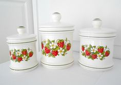 Canisters Strawberry Kitchen Decor Set of Three. $24.00, via Etsy.