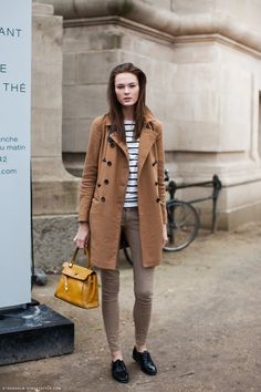 Stripes, neutrals, a really lovely coat, and a bit of yellow.