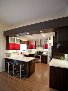 #kitchen layout with a splash of red