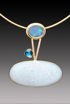 Yumi Ueno Art Jewelry & Metal : Jewelry Gallery : Pendant...Australian boulder opal, Topaz, Drusy agate, 22 & 14KG, S.S