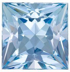Aquamarine Loose Gemstone, Sharp Blue, Princess Cut, 9 mm, 3.18 Carats at BitCoin Gems