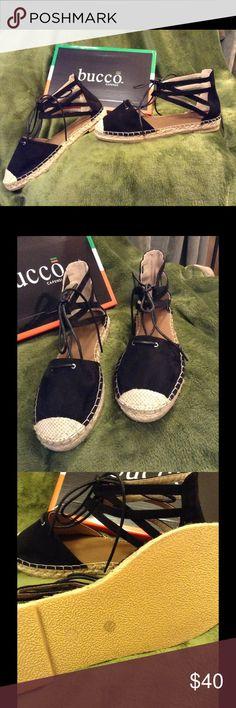 Super cute Espadrilles! Black Naomi Espadrilles. Size 8.5. All man made materials, made in Italy. Bucco Shoes Espadrilles