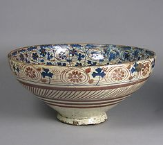 Date: Geography: Made in probably Manises, Valencia, Spain Culture: Spanish Bowl Ceramic Painting, Ceramic Art, Earthenware, Stoneware, Medieval, Spain Culture, Glazed Tiles, Blue Bowl, Pottery Designs