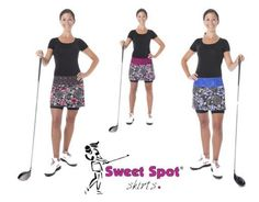 This black and white floral design with accents of light and dark purple, fuschia or red is gorgeous and fun, just like you! We designed it with inspiration from all of our fabulous skirt lovers. Looks great on the golf course or a night on the town.  ​The new Sweet Spot golf skirt is 2 inches longer than the Original Classic Skirt. Made longer to provide full coverage (to meet club dress codes). The skirt fits on your hips and allows movement for the active play of golf.