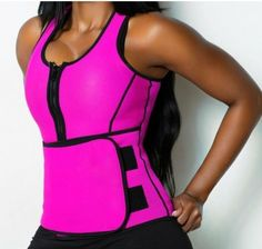 9a0f45f13caeb Double Compression Pink Neoprene Body Shaper Vest Zipper Front. Waist  Trainer ...