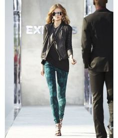 Emerald jeans (printed or otherwise) with black and leather. Definitely plan to wear this combo plenty this season!