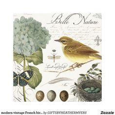 modern vintage French bird and nest