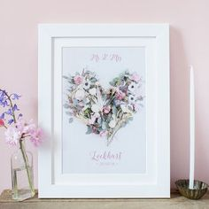 Personalised Mr And Mrs Floral Heart Wedding Print