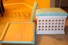 DIY seat covers for plastic crates- great idea for a reading center (esp. in a small classroom). Just store books/materials inside the crate, and kids have a seat as they read their books and complete their work!