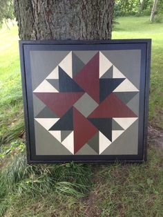 Items similar to PriMiTiVe Hand-Painted Barn Quilt, Small Frame x - Double Aster Pattern (Old Mill Version) on Etsy Barn Quilt Designs, Barn Quilt Patterns, Quilting Designs, Paint Patterns, Patchwork Patterns, Block Patterns, Mosaic Patterns, Quilting Ideas, Quilting Projects
