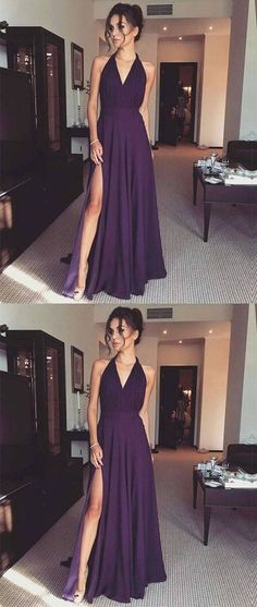 halter grape prom party dresses, chic long formal dresses for fashion party H01450