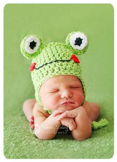 Frog hat with earflaps, braids and face Any size Great for photo prop girl or…
