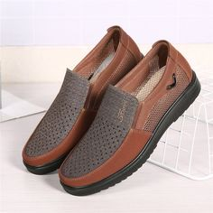 dbd23af2ca1 Large Size Men Hollow Out Mesh Splcing Slip On Comfy Casual Shoes - NewChic