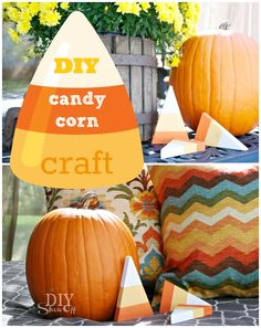 DIY Halloween/Fall craft: decorative wooden candy corn pieces