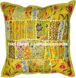 Vintage Handmade Cushion Covers Indian Patchwork Pillows in Yellow inches Couch Pillow Covers Turquoise Throw Pillows, Cushions On Sofa, Floor Pillows, Handmade Cushion Covers, Handmade Cushions, Decorative Throw Pillows, Patchwork Cushion, Embroidered Cushions, All You Need Is