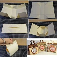 Mini Cardboard present Bag F bag Wonderful DIY Mini Cardboard Gift Bag Paper Purse, Paper Gift Bags, Paper Gifts, Diy Paper, Diy Gift Box, Diy Box, Diy Gifts, Gift Boxes, Diy Cardboard