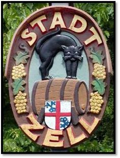 "Official badge of the town of Zell, Germany (The village of Zell is located on the Mosel River near the French border. Although many wines are produced in this region, Zeller Schwarze Katz, or ""black cat"" wines are the most famous)"