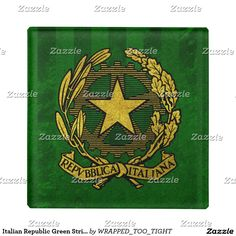 Italian Republic Green Stripe Glass Coaster