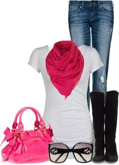 Casual outfit with cute pink scarf