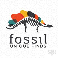 Logo For Sale: Fossil Investigations Stegosaurus skeleton with colorful plates along his spine. keyideas: museum, history, archaeology, past, layers, archaeology, dinosaur, dino, search, discovery, powerful, predator, beast, monster, lizard, biology, teeth, meat, plate, panels, dinosaur, toys, power, strength, speed, museum, archaeologist, hunt