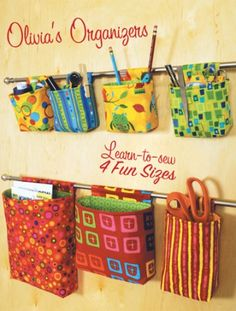 Organizadores, cute way to organize-maybe in closet or bathroom as well as craft room? Kwik Sew Patterns, Mccalls Patterns, Pattern Sewing, Free Pattern, Sewing Hacks, Sewing Tutorials, Sewing Tips, Fabric Crafts, Sewing Crafts