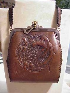 Unusual Gorgeous Vintage Hand Tooled Leather Handbag by LaDolfina ...