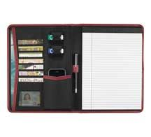 """Pedova Writing Pad Gusseted document pocket. Pen loop. Seven business card holders. Two USB memory flash drive holders. Mesh ID window. Gusseted elastic media pocket. Includes 8.5"""" x 11"""" writing pad"""