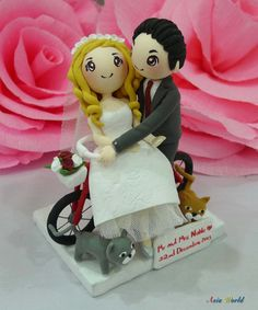 Wedding Cake Topper Wedding Clay Couple With Tandem Bike