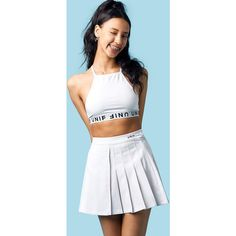 UNIF Serve Skirt ❤ liked on Polyvore featuring skirts, knee length pleated skirt, high-waist skirt, high waisted pleated skirt, high waisted knee length skirt and unif
