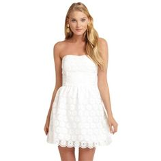 Pre-owned Lilly Pulitzer Payton Dress ($141) ❤ liked on Polyvore featuring dresses, white, short dresses, strapless dress, beaded cocktail dress, cocktail dresses and evening dresses