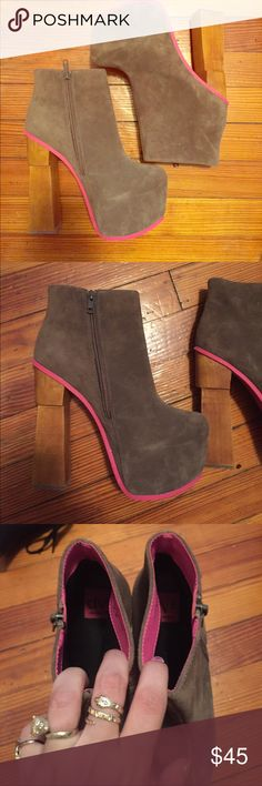DV Dolce Vita gray and neon pink platform booties Only worn one time, these perfectly pink platforms are just the right kind of show stopper! True to size, suede, and perfect for fall! DV by Dolce Vita Shoes