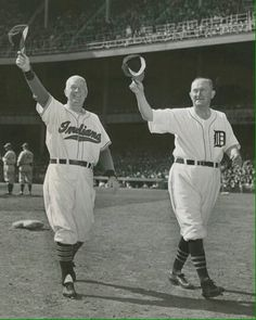 HOFers Tris Speaker and Ty Cobb acknowledge cheers at a 1950's Old Timers Day at Yankee Stadium