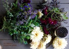 dahlias from the garden - MY FRENCH COUNTRY HOME BLACK ELDERFLOWER LEAVES, CERINTHUS, SAGE & BLUE CATMINT. JACOBS LADDER,DARKER DAHLIAS.