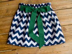 Navy Chevron Tie Skirt Navy Chevron and Green by KarolinaDesigns, $43.00
