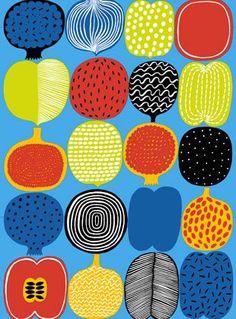 Marimekko online shop - Finnish fabrics and textiles Motifs Textiles, Textile Patterns, Print Patterns, Floral Patterns, Design Textile, Fabric Design, Marimekko Fabric, Illustrations Vintage, Stampin Up